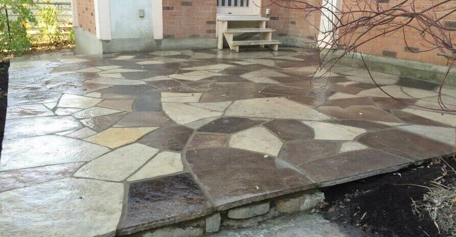 Lovely Flagstone Patio   After   Wet Laid