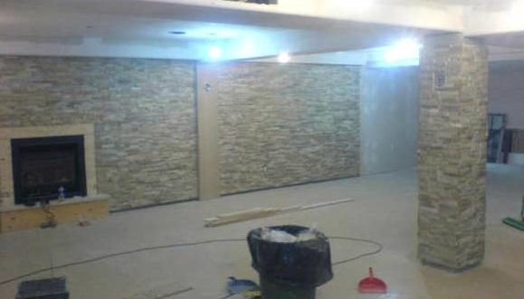 Thin stone veneer wall